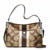 COACH HAMPTONS WEEKEND SIGNATURE STRIPE HIPPIE # 22418 สี KHAKI/MAHOGANY