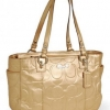 Coach Embossed Metallic Gold Leather Gallery Tote Handbag # 17727