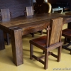 ชุดโต๊ะอาหารไม้สัก+เก้าอี้หนังแท้ TBG-20 SET 4