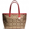 Coach legacy weekend signature c medium zip top tote # 23465 สี KHAKI / RED