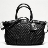 พร้อมส่ง ++ กระเป๋า coach MADISON QUILTED CHEVRON NYLON SOPHIA SATCHEL# 18637 Black