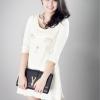 [[พร้อมส่ง]] Minidresscat0269 มินิเดรสผ้านุ่มลายหน้าน้องเหมียวปักดิ้นทองน่ารักม๊ากกกก แบบของแบรนด์ Charlotte Olympia / สีขาว
