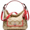 Coach Legacy Signature Courtenay Hobo Handbag สี Light Khaki/Coral