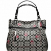 Coach poppy embroidered signature c glam tote # 21184 SILVER / BLACK WHITE / BLACK