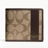 Coach Heritage Stripe Double Billfold Wallet # 74516  สี khaki mahogany