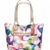Coach new poppy stamped c small tote # 23372 สี SILVER / MULTICOLOR