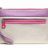 Coach Legacy Weekend Beach Canvas Wristlet # 49268 สี silver natural lilac pink