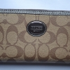 Coach Signature Peyton Zip Around Wallet # 48402 Khaki/Mahogany