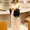 """""""พร้อมส่ง""""เสื้อผ้าแฟชั่นสไตล์เกาหลีราคาถูก Brand God is girl แม๊กซี่เดรสแขนกุด คอวี จั๊มเอว มีซับในช่วงกระโปรง -สีขาว"""