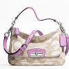 COACH KRISTIN SIGNATURE EAST-WEST CROSSBODY # 22302 สี  KHAKI LAVENDER