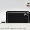 COACH Signature Bow Charm Zip Around wallet # 48135 สี Black