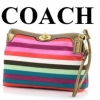 COACH MULTI-COLOR STRIPE TURNLOCK CAPACITY WRISTLET # 43358