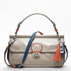 COACH New Leather Colorblock City Willis #19035 สี SILVER/GREY/TANGELO
