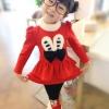 ชุดกันหนาวเด็ก เสื้อพร้อมกางเกง สีแดง มีไซส์ 100 110 120 130 140