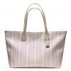 Coach legacy weekend ticking stripe pvc zip top tote # 23108 สี Silver/Khaki/Pink