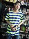 เสื้อยืดลายทูโทนทรงใหญ่แฟชั่นเสื้อผ้าผู้ชายเกาหลีมี2สี