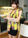 ผ้าพันคอลายดอกไม้ Colorful flower สี Yellow ผ้าพันคอ Silk Chiffon - size 170*70 cm