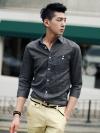 เชิ้ตแขนสี่ส่วนแนววินเทจแฟชั่นเสื้อผ้าผู้ชายเกาหลีมี2สี