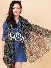 ผ้าพันคอลายดอกไม้ Flora Pattern : สี Brown ผ้า viscose size 180x80 cm