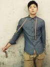 เสื้อเชิ้ตแขนยาวแฟชั่นเสื้อผ้าผู้ชายจากเกาหลี2สีสวย