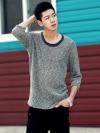 เสื้อลายถักแขนยาวสี่ส่วนแฟชั่นเสื้อผ้าผู้ชายจากเกาหลีมี2สี