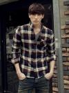 เสื้อเชิ้ตผ้าฝ้ายลายสก๊อตสีน้ำตาล mitishop 100%Originail import from Korea