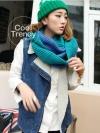 ผ้าพันคอไหมพรมแฟชั่นสไตล์เกาหลี Loop Loop : สีน้ำเงินเขียว