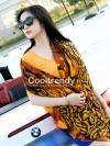 ผ้าพันคอแฟชั่นลายกุหลาบ Rose scarf : สีน้ำตาล ผ้า viscose size 180x90 cm