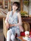 ผ้าพันคอวินเทจ ลาย Porcelian : White&Blue - ผ้าชีฟอง Chiffon - size 160*70 cm