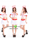 ชุดพยาบาลสาวสีขาวขลิบแดง