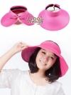 หมวกแฟชั่นเกาหลี หมวกกันแดดทรงปีกกว้าง : สีชมพู
