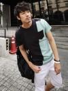 เสื้อคอกลมลายตัดต่อแฟชั่นเสื้อผ้าผู้ชายเกาหลีมี2โทน