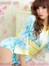 ชุดกิโมโน ชุดคอสเพลย์น่ารักสีฟ้าพร้อมผ้าคาดเอว
