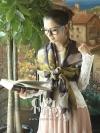 ผ้าพันคอแฟชั่นลายดอกไม้ Begonia : สีม่วงเหลือง - ผ้าพันคอ Cotton - size 160*60 cm