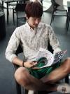 เชิ้ตแขนยาวลายจุดทรงใหญ่แฟชั่นเสื้อผ้าผู้ชายเกาหลีมี2สี