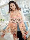 ผ้าพันคอโบฮีเมียน Bohemian ethnic : สีส้ม - ผ้าพันคอ Paris Yarn - size 180*110 cm