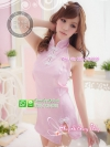 ชุดกี่เพ้าสาวจีนผ้าทอลายสีชมพู