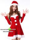 ชุดซานตาครอสสาว ผ้ากำมะหยี่สีแดงขาว