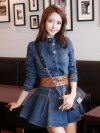 พร้อมส่ง / เดรสยีนส์แฟชั่นพร้อมเข็มขัด Korean long-sleeved denim dress ไซต์ L