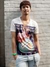 เสื้อคอวีพิมพ์ลายแฟชั่นเสื้อผ้าผู้ชายจากเกาหลีมี2สี