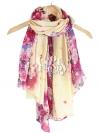 ผ้าพันคอลายดอกซากุระ Sakura : Cream color ผ้า Viscose size 180x100 cm