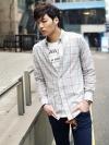 เชิ้ตแขนยาวลายตารางไซส์ใหญ่แฟชั่นเสื้อผ้าผู้ชายเกาหลี