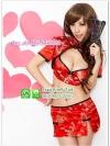 ชุดกี่เพ้า ชุดแฟนซีสาวจีนสีแดงเอวลอย