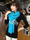 ผ้าพันคอไหมพรม ผ้า cashmere scarf size 220*30 cm -  สี sky blue