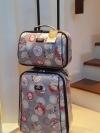 """พร้อมส่ง / กระเป๋าเดินทาง ขนาด 18""""/12"""" วัสดุผ้าเคลือบpvc โครงแข็ง กันน้ำ ใช้ง่าย ซิปรอบ ล็อครหัสสามหลัก 2 ล้อ"""