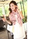 ผ้าพันคอแฟชั่นลายหัวใจ Little Heart สีชมพู ผ้าพันคอชีฟอง 160 x 45 cm
