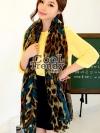 ผ้าพันคอแฟชั่นลายเสือ SC643 : ลายหัวใจสีเขียว - ผ้าพันคอ cotton ขนาด 180*80 cm