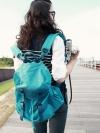 Pre /  Dahua กระเป๋าเป้ผ้าแคนวาสสีฟ้า สไตล์เกาหลี แต่งหนังสีฟ้าอ่อน สินค้าเหมือนแบบ 100% ใช้ได้ทั้งหญิงและชาย