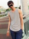 เสื้อกล้ามขลิบลายขวางแฟชั่นเสื้อผ้าผู้ชายจากเกาหลีมี4สี
