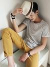 เสื้อคอกลมแขนสั้นลายจุดแฟชั่นเสื้อผ้าผู้ชายเกาหลีมี3สี